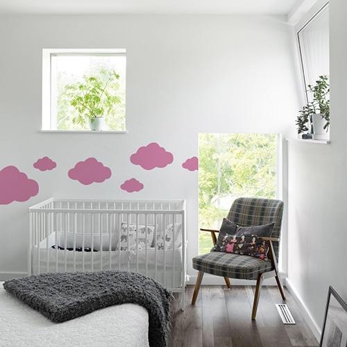 Autocollant Nuage Rose pour chambre d'enfant