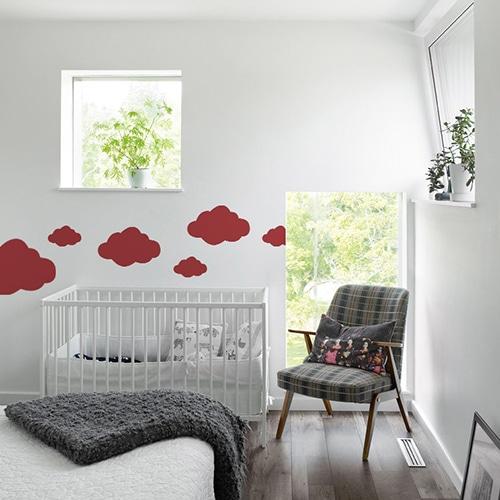 Autocollant Nuage Rouge pour chambre d'enfant