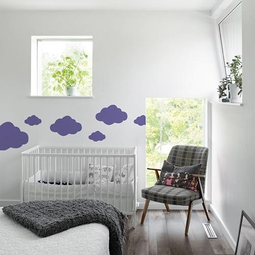 Autocollant Nuage Violet pour chambre d'enfant