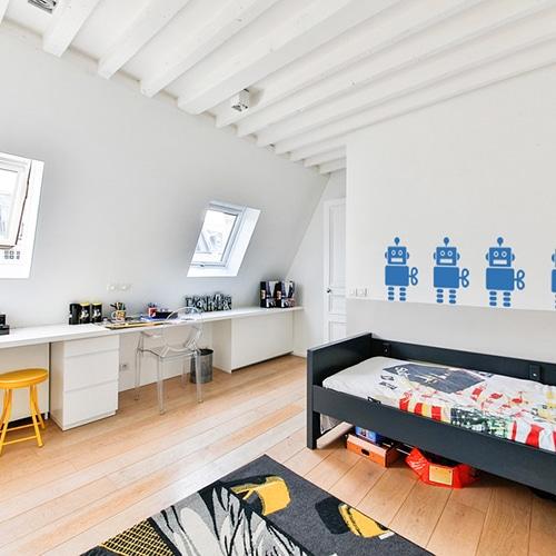 Sticker Robot Bleu pour chambre d'enfant