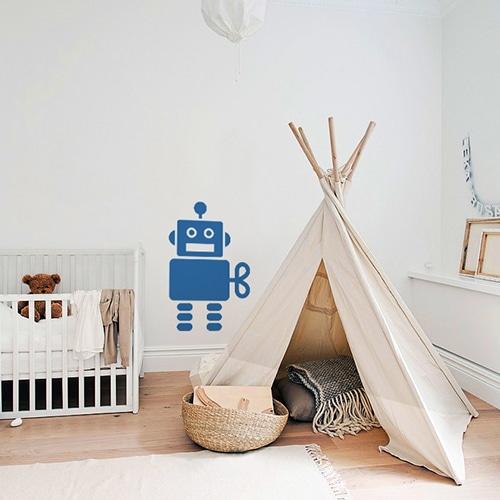 Adhésif Robot Bleu pour chambre d'enfants