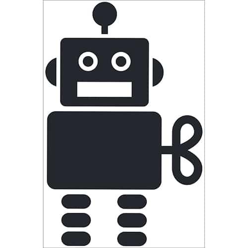 Autocollant Robot Noir pour enfants