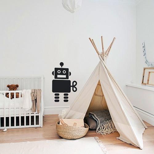 Adhésif Robot Noir pour chambre d'enfant