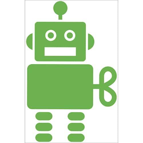 Autocollant Robot Vert pour enfants
