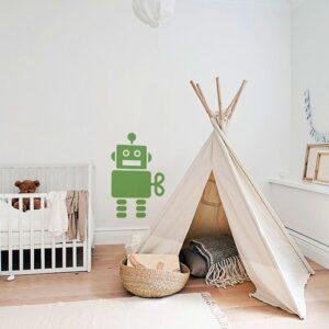 Adhésif Robot Vert pour chambre d'enfant