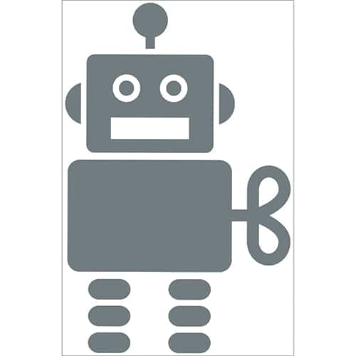Autocollant Robot Gris Foncé pour enfants