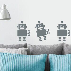 Stickers muraux Robots Gris Foncé enfants mis en ambiance sur un mur blanc