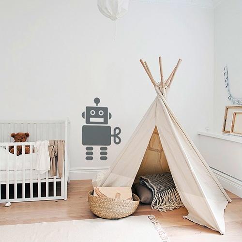 Adhésif mural Robot Gris Foncé enfants mis en ambiance dans une chambre pour bébé