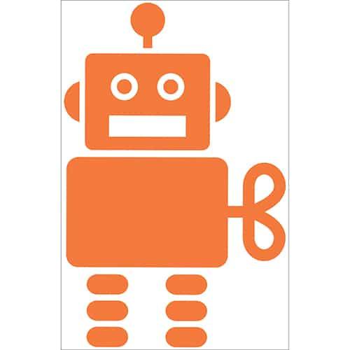 Autocollant Robot Orange pour enfants