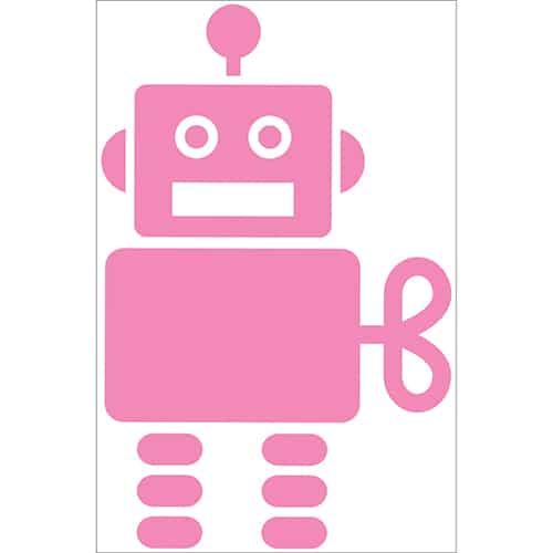 Autocollant Robot Rose pour enfants