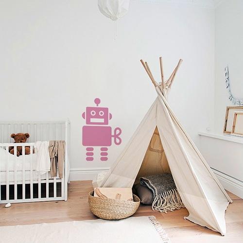 Adhésif Robot Rose pour chambre d'enfant