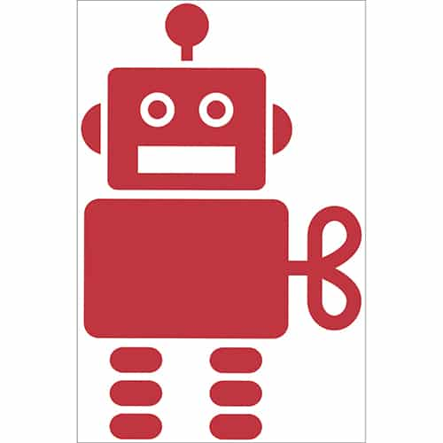 Autocollant Robot Rouge pour enfants