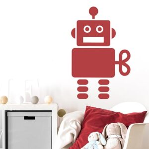 Adhésif Robot Rouge pour chambre d'enfants