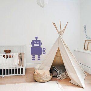 Sticker Robot Violet pour enfants mis en ambiance dans une chambre bébé