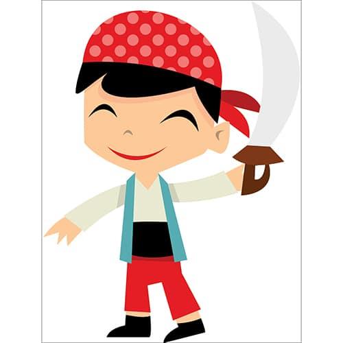 Sticker Pirate petit garçon souriant avec une épée