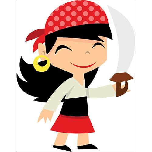 Sticker petite fille pirate souriante avec une épée