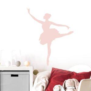 Sticker Danseuse rose enfants sur mur blanc