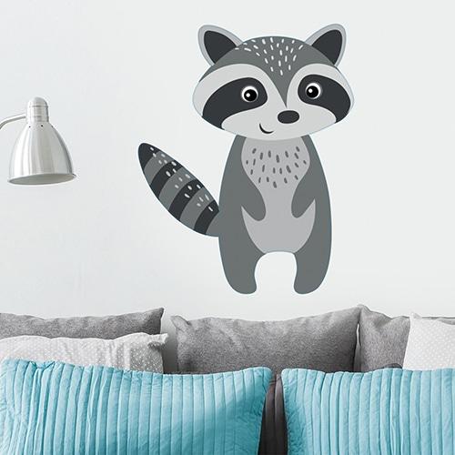 Grand sticker mural raton laveur sur un mur blanc