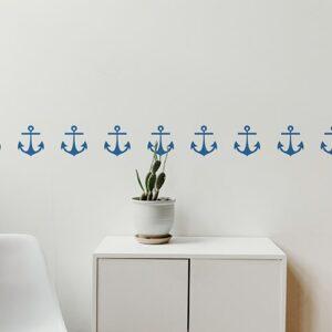 Bandes de stickers ancre bleue mis en ambiance sur fond blanc