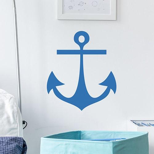 Sticker Ancre Bleue enfants mis en ambiance sur mur blanc