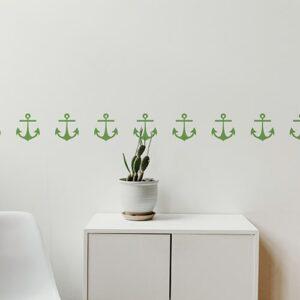 Bandes de stickers ancre verte mis en ambiance sur fond blanc