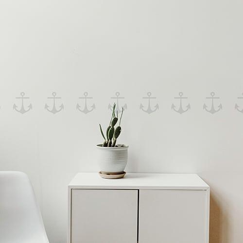 Bandes de stickers ancre grise mis en ambiance sur fond blanc