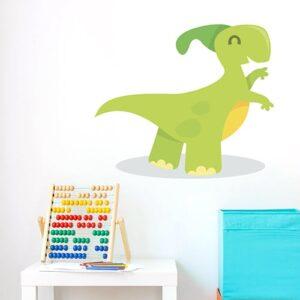 Sticker Dino Vert enfants mis en ambiance sur fond blanc salle de jeu pour enfants