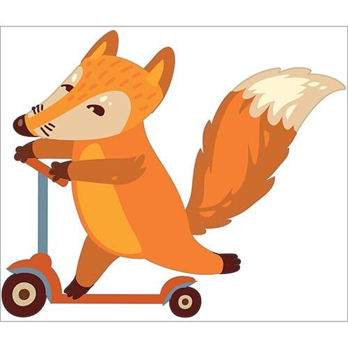 Sticker pour enfant avec un renard sur une trottinette enfants