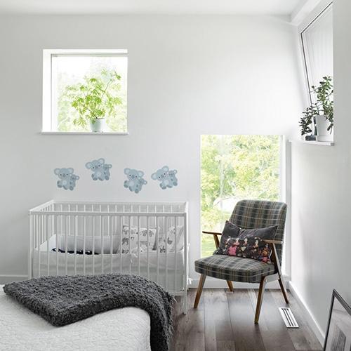 Bande de stickers maman et bébé Koalas pour enfants mis en ambiance dans une chambre pour bébé