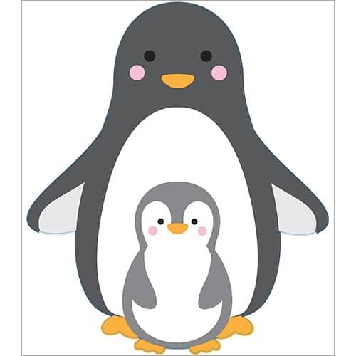 Sticker maman et bébé pingouins pour enfants