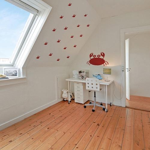 Stickers crabes rouges pour enfants mis en ambiance dans un bureau pour enfants