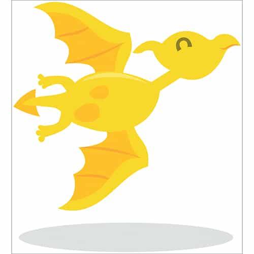 Sticker dragon jaune pour enfants