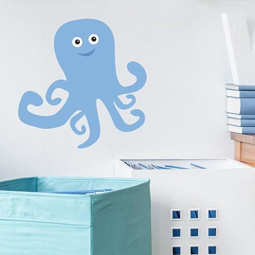Autocollant mural pour chambre d'enfants Pieuvre sur un mur blanc