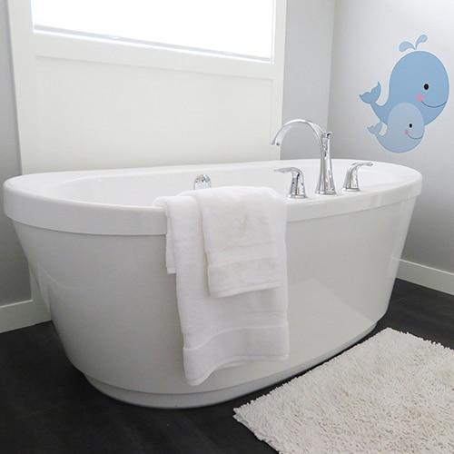Sticker autocollant Baleines pour enfant salle de bain