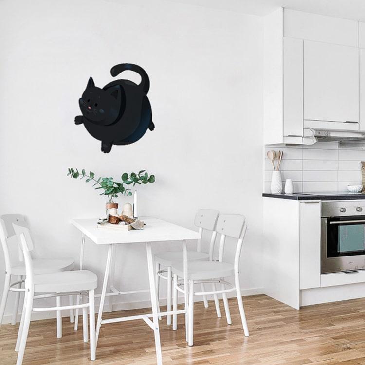 Sticker mural autocollant chat noir