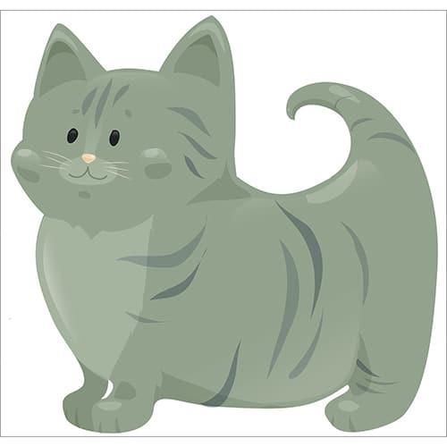 Sticker chat vert pour enfants Chat
