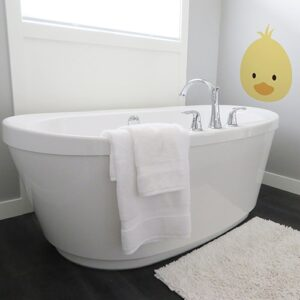 autocollants Tête de poussin jaune pour salle de bain