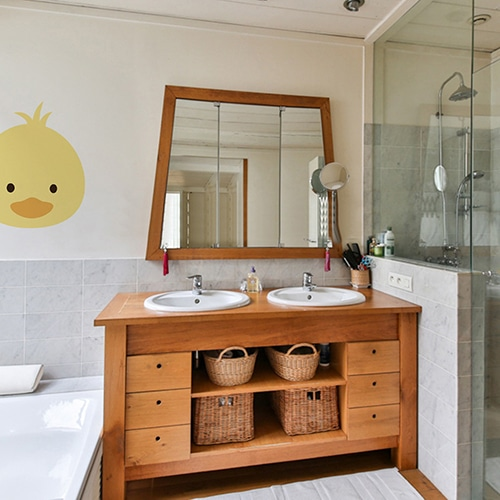 Stickers Tête de poussin jaune pour salle de bain