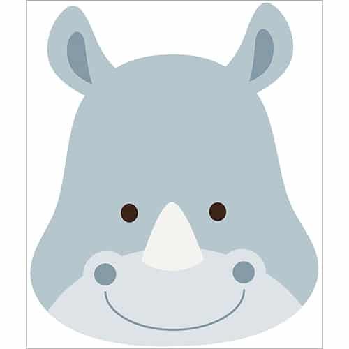Autocollant tête de rhino pour enfants