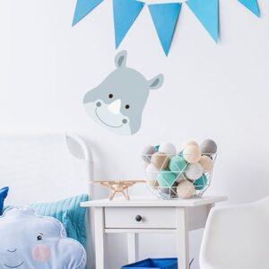 Sticker tête de Rhino pour la chambre de votre enfant