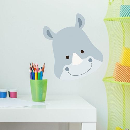 Sticker tête de Rhino pour la chambre ou bureau de votre enfant