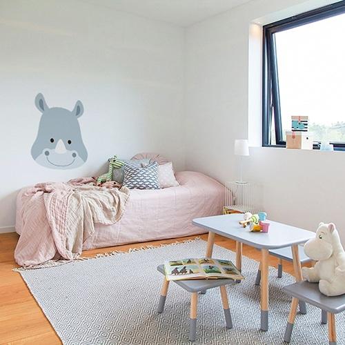 Autocollant tête de Rhino pour la chambre de votre enfant