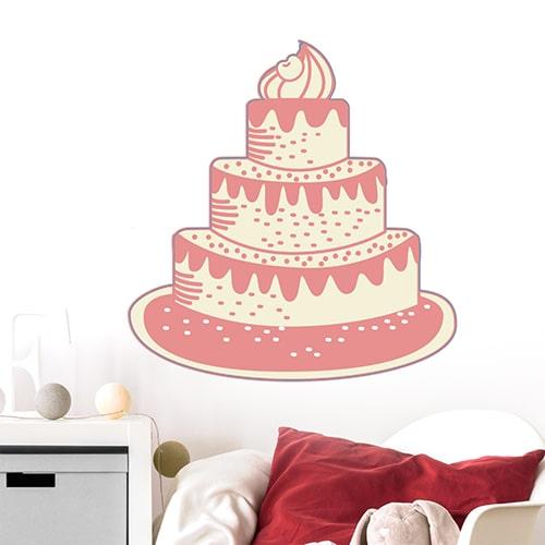 Sticker Gâteau pour la chambre de votre enfant : Joyeux anniversaire ! mis en ambiance, 2ème proposition