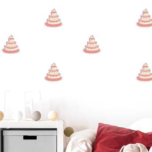 Sticker Gâteau pour la chambre de votre enfant : Joyeux anniversaire ! mis en ambiance, 4ème proposition