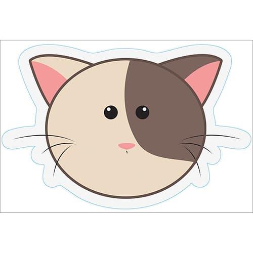 Stickers pour enfants tête de chat bicolore !