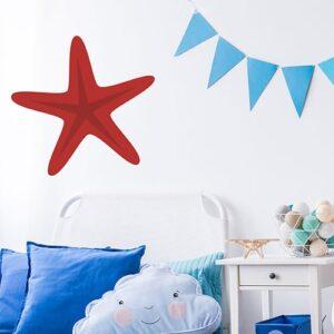 Adhésif mural étoile de mer rouge pour enfant