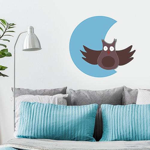 Stickers autocollants Hibou Lune pour vos enfants mis en ambiance dans une pièce à vivre