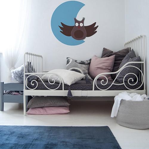 Stickers autocollants Hibou Lune pour vos enfants mis en ambiance collé dans une chambre