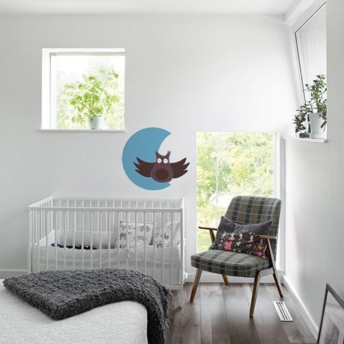 Stickers autocollants Hibou Lune pour vos enfants mis en ambiance collé au mur d'une chambre pour bébé