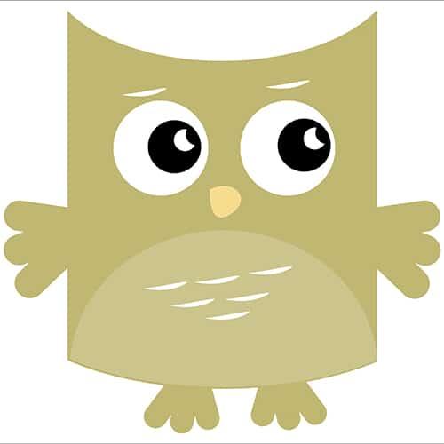 Sticker adhésif Hibou Vert pour enfants